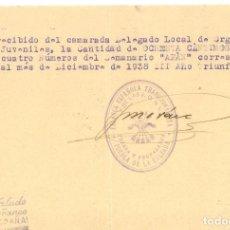 Militaria: GUERRA CIVIL 12/1938. RECIBO SEMANARIO AFAN CON SELLO PRENSA Y PROPAGANDA FET DE PUEBLA DE CALZADA. Lote 267068449