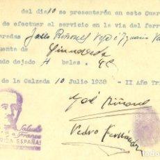 Militaria: GUERRA CIVIL 10-6-1938. INFORME FET PUEBLA DE LA CALZADA REGRESO SERVICIO DE FERROCARRIL. Lote 267068539