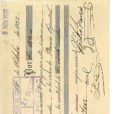 Militaria: GUERRA CIVIL 16-10-1937. LETRA BANCO ESPAÑOL DE CRÉDITO A F.E.T. DE LAS JONS PUEBLA DE LA CALZADA. Lote 267068844