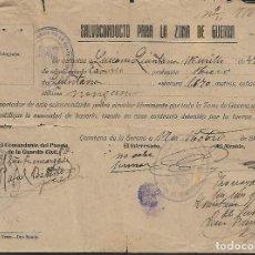 Militaria: QUINTANA DE LA SERENA, -SALVOCONDUCTO PARA LA ZONA DE GUERRA- VER FOTOS. Lote 267830929