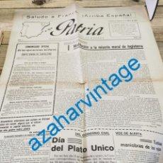 Militaria: GUERRA CIVIL, DIARIO PATRIA, HUESCA, 15.05.1937, PARTE DE GUERRA, FRENTE DE VIZCAYA, ETC..4 PAGINAS. Lote 269362993