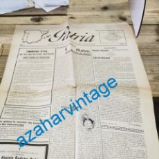 Militaria: GUERRA CIVIL, DIARIO PATRIA, HUESCA, 24.10.1937, PARTE DE GUERRA, FRENTE DE ASTURIA,, ETC..4 PAGINAS. Lote 269363553