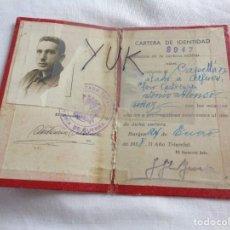 Militaria: CARNET - CARTILLA DE IDENTIDAD MILITAR - ENERO DE 1938 - GUERRA CIVIL. Lote 269995668