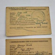 Militaria: DOS FICHAS CAMPO CONCENTRACIÓN PRISIONEROS GUERRA DE LAS ESCUELAS PATRONATO - BILBAO 1939. Lote 270158828