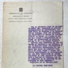 Militaria: CARTA DE LA CONSELLERIA DE DEFENSA DE LA GENERALITAT DE CATALUNYA 16-2-1937. GUERRA CIVIL.EL CORONEL. Lote 270370528