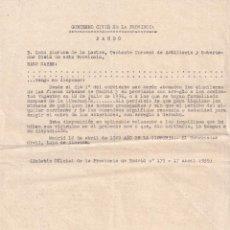Militaria: CIRCULAR GOBIERNO CIVIL -LUIS ALARCON- ORDEN DE QUE SE VUELVAN A PAGAR LOS ALQUILERES - GUERRA CIVIL. Lote 272879378