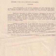 Militaria: CIRCULAR GOBIERNO CIVIL DE MADRID - 1939 - VOLVER A PAGAR LOS ALQUILERES - GUERRA CIVIL. Lote 272883763