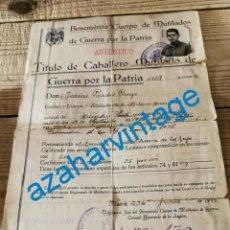 Militaria: CONCESION MUTILADO DE GUERRA FALANGISTA, TERCIO VIRGEN DE LOS REYES FIRMA MILLAN ASTRAY. 1940. Lote 275027218