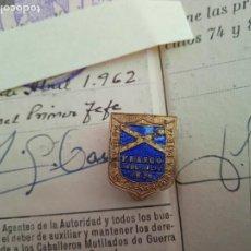 Militaria: CARNET E INSIGNIA DEL BENEMERITO CUERPO DE CABALLEROS MUTILADOS DE GUERRA POR LA PATRIA. Lote 276471558