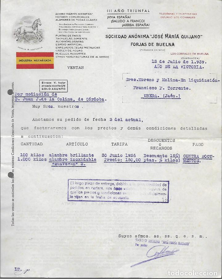 SANTANDER, FACTURA, --INDUSTRIA MILITARIZADA- VER FOTOS (Militar - Guerra Civil Española)