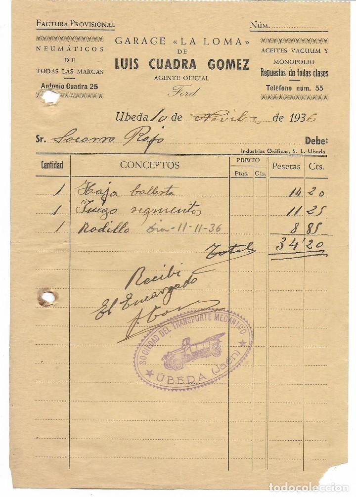 UBEDA, FACTURA. SR. SOCORRO ROJO.- RECIBI: SOCIEDAD TRANSPORTE MECANICO, VER FOTO (Militar - Guerra Civil Española)