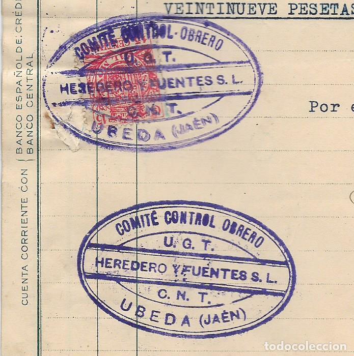UBEDA,- COMITE CONTROL OBRERO - C.N.T. U.G.T. SELLO MOVIL 25 CTS, VER FOTO (Militar - Guerra Civil Española)