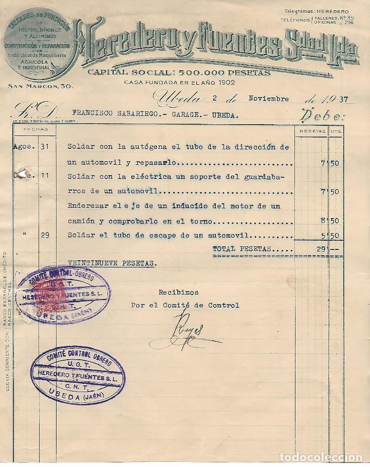 Militaria: UBEDA,- COMITE CONTROL OBRERO - C.N.T. U.G.T. SELLO MOVIL 25 CTS, VER FOTO - Foto 2 - 276960148