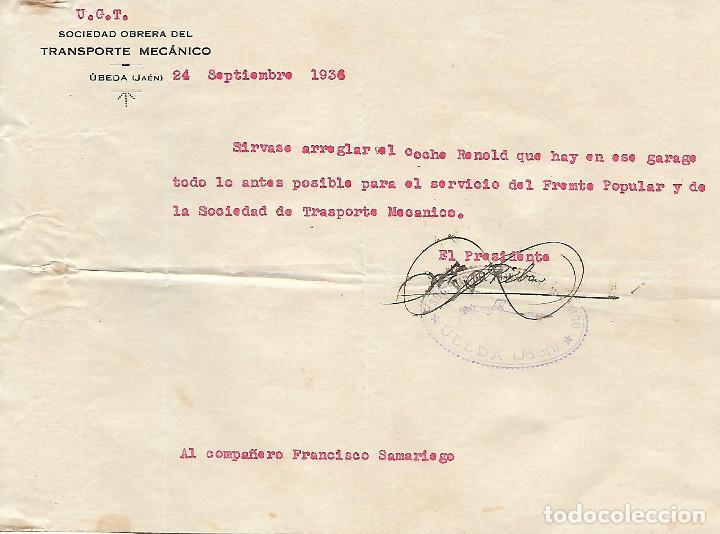 UBEDA,- U.G.T. ARREGLO COCHE RENOLD. PARA EL SERVICIO DEL FRENTE POPULAR.- VER FOTO (Militar - Guerra Civil Española)