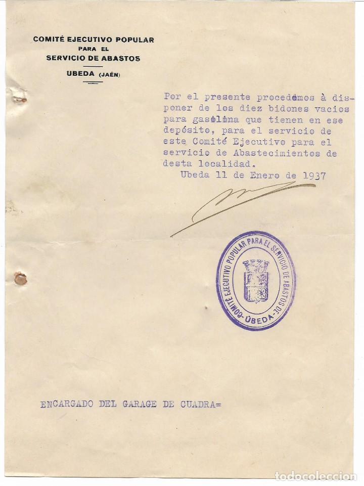 UBEDA, COMITE EJECUTIVO POPULAR PARA EL SERVICIO DE ABASTO,- VER FOTO (Militar - Guerra Civil Española)