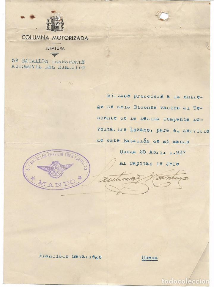 UBEDA-JAEN- COLUMNA MOTORIZADA,- 5º BATALLON TRANSPORTE AUTOMOVIL DEL EJERCITO,- VER FOTO (Militar - Guerra Civil Española)