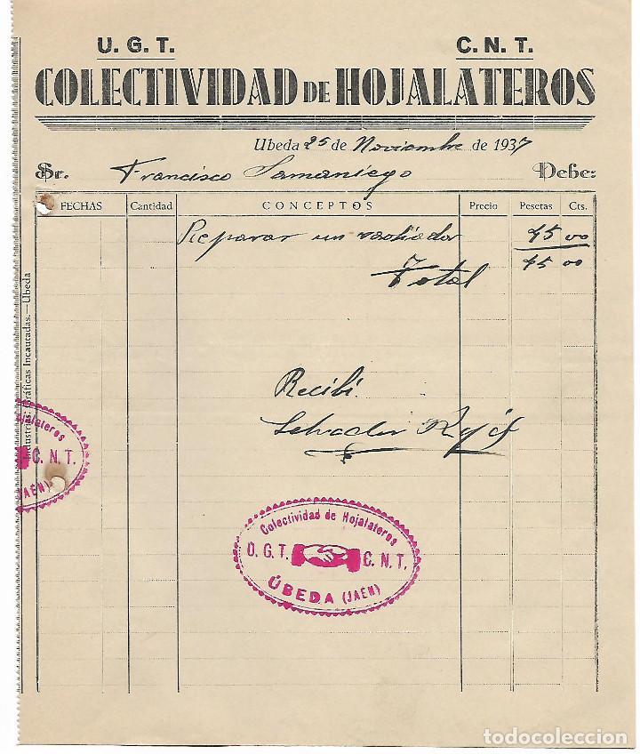 UBEDA-JAEN- U.G.T. - C.N.T. COLECTIVIDAD DE HOJALATEROS, VER FOTO (Militar - Guerra Civil Española)