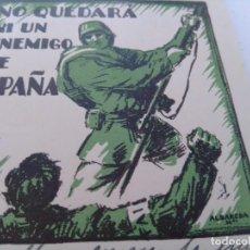 Militaria: TARJETA POSTAL DE GUERRA FUENTES DE EBRO (TERUEL)NO QUEDARÁ UN ENEMIGO DE ESPAÑA GUERRA CIVIL. Lote 277748323