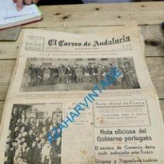 Militaria: EL CORREO DE ANDALUCIA,GUERRA CIVIL,07-12-1937, SEVILLA,CORDOBA,JURA PRIMER CONSEJO NACIONAL. Lote 278343933