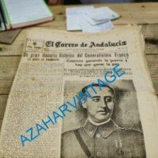 Militaria: EL CORREO DE ANDALUCIA,GUERRA CIVIL,20-04-1937, HUELVA, FRENTE DE BILBAO, FRENTE DE MADRID. Lote 278347928