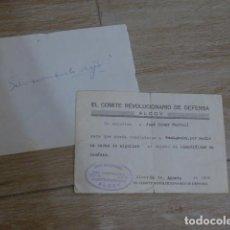 Militaria: ANTIGUO SALVOCONDUCTO REPUBLICANO DE COMITE REVOLUCIONARIO ALCOY, IDENTIFICAR CADAVER, GUERRA CIVIL. Lote 278537868