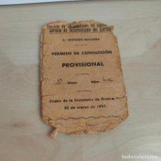 Militaria: PERMISO DE CONDUCCIÓN PROVISIONAL SERVICIO AUT. EJERC. 5ª DIVISIÓN NAVARRA. 1938. Lote 279354123