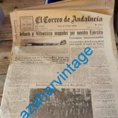 Militaria: EL CORREO DE ANDALUCIA, GUERRA CIVIL, 20-10-1937,INFIESTO, VILLAVICIOSA, ETC. Lote 282495553