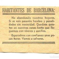 Militaria: PANFLETO PROPAGANDÍSTICO. FRANQUISTA. GUERRA CIVIL ESPAÑOLA. BARCELONA 1939. ORIGINAL. Lote 286001063