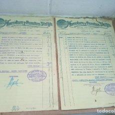 Militaria: LOTE DE 2 FACTURAS DE HEREDERO Y FUENTES. UBEDA. 1938. COMITE CONTROL OBRERO. UGT - CNT. Lote 286701223