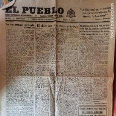 Militaria: PERIODICO EL PUEBLO DIARIO REPUBLICANO 13 ENERO 1937 GUERRA CIVIL 4 PAGINAS ORIGINAL. Lote 287689478