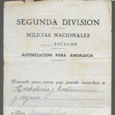 Militaria: SEVILLA.-MILICIAS NACIONALES- SALVOCONDUCTO-- PARA ANDALUCIA Y EXTREMADURA, VER FOTO. Lote 288135203