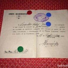 Militaria: COMITE REVOLUCIONARIO - IBI ( ALICANTE ) - 11 SEPTIEMBRE 1936 - APORTACIÓN VOLUNTARIA - MILICIAS. Lote 288341303