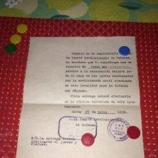 Militaria: COMITE REVOLUCIONARIO DE DEFENSA DE ALCOY - 29 DE JULIO DE 1936 - DONATIVO EXTRAORDINARIO. Lote 288342093
