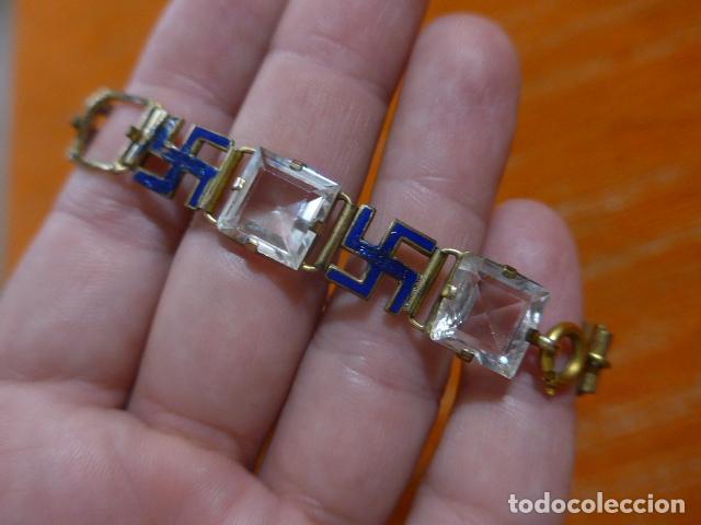 Militaria: Antiguo brazalete español con esvasticas y brillantes, Division azul, epoca II guerra mundial. - Foto 7 - 288654403