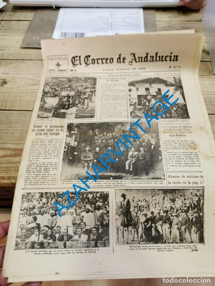 EL CORREO DE ANDALUCIA,GUERRA CIVIL,15-06-1937 TOMA DE BILBAO, PLENCIA, LAS ARENAS, ETC (Militar - Guerra Civil Española)