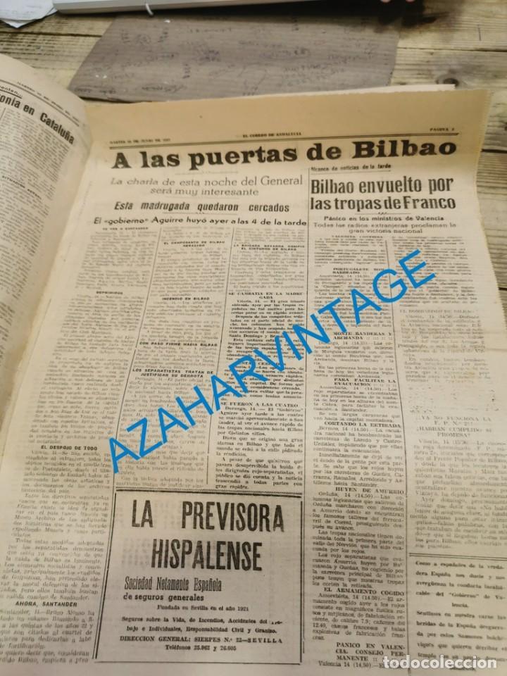Militaria: EL CORREO DE ANDALUCIA,GUERRA CIVIL,15-06-1937 TOMA DE BILBAO, PLENCIA, LAS ARENAS, ETC - Foto 2 - 288964263
