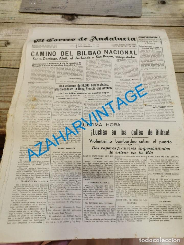 Militaria: EL CORREO DE ANDALUCIA,GUERRA CIVIL,15-06-1937 TOMA DE BILBAO, PLENCIA, LAS ARENAS, ETC - Foto 5 - 288964263