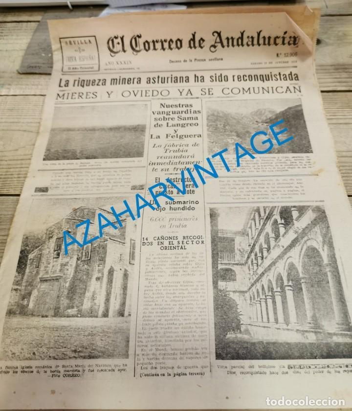 EL CORREO DE ANDALUCIA,GUERRA CIVIL,23-10-1937 SABIÑANIGO,ASTURIAS, HUELVA, LEBRIJA, ETC (Militar - Guerra Civil Española)