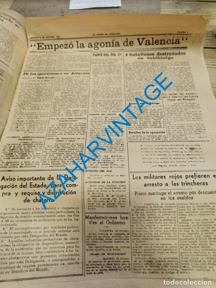 Militaria: EL CORREO DE ANDALUCIA,GUERRA CIVIL,23-10-1937 SABIÑANIGO,ASTURIAS, HUELVA, LEBRIJA, ETC - Foto 2 - 288979593