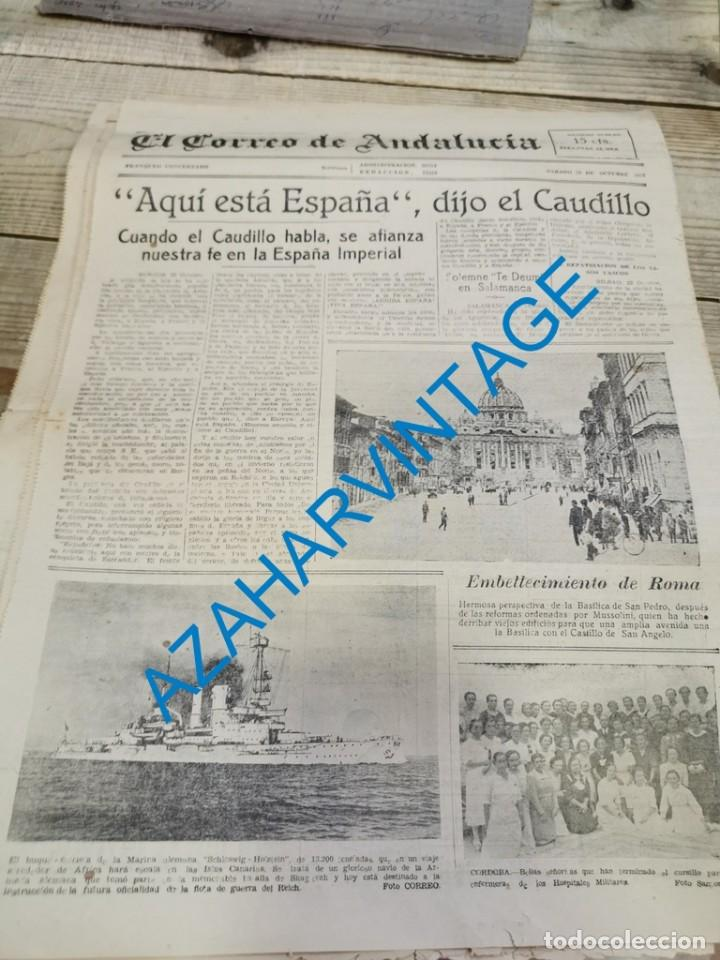 Militaria: EL CORREO DE ANDALUCIA,GUERRA CIVIL,23-10-1937 SABIÑANIGO,ASTURIAS, HUELVA, LEBRIJA, ETC - Foto 5 - 288979593