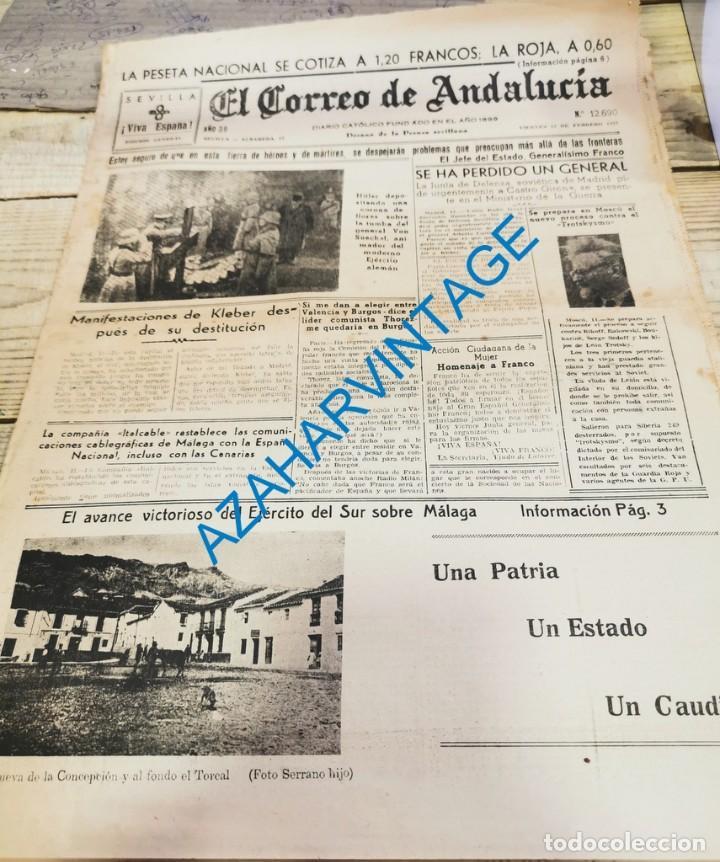 EL CORREO DE ANDALUCIA,GUERRA CIVIL,12-02-1937 FRENTE JARAMA, SEVILLA BENDICION SAN BERNARDO, ETC (Militar - Guerra Civil Española)