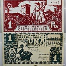 Militaria: PLACA DEL BILLETE EMITIDO EN CASTELLDEFELS DURANTE LA GUERRA CIVIL 1936 - METAL ESMALTADO -VER FOTOS. Lote 293593713