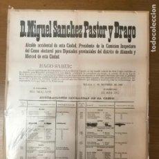 Militaria: MALAGA, CARTEL DIPUTADOS PROVINCIALES,AÑO 1883, MIDE: 59 X 44 C.M. VER FO. Lote 294151018