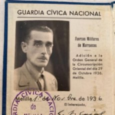Militaria: CARNET IDENTIDAD - GUARDIA CÍVICA NACIONAL DE MELILLA - GUERRA CIVIL ESPAÑOLA - NOVIEMBRE DE 1936. Lote 294154233