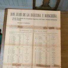 Militaria: MALAGA, CARTEL, ALTERACIONES EN EL CENSO.- AÑO 1884, MIDE: 88 X 64 C.M. VER FO. Lote 294155253