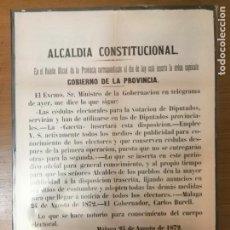 Militaria: MALAGA, CARTEL, CEDULAS PARA VOTACION.- AÑO 1872, MIDE: 63 X 43 C.M. VER FO. Lote 294156048