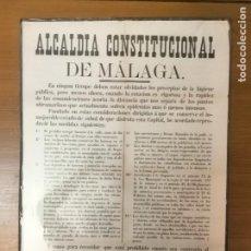 Militaria: MALAGA, CARTEL, LOS PRECEPTOS DE HIGIENE.- AÑO 1882, MIDE: 63 X 43 C.M. VER FO. Lote 294157093