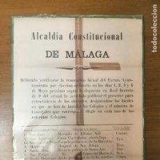 Militaria: MALAGA, CARTEL, LOCALES PARA LOS COLEGIOS EECTORALES.- AÑO 1887, MIDE: 64X 44 C.M. VER FO. Lote 294158283