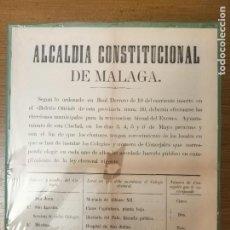 Militaria: MALAGA, CARTEL, NUMERO CONCEJALES- AÑO 1883, MIDE: 43 X 32 C.M. VER FO. Lote 294159628