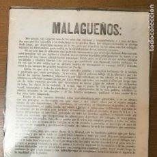 Militaria: MALAGA, CARTEL, EJERCE EL DERECHO A VOTAR- AÑO 1871, MIDE: 44 X 32 C.M. VER FO. Lote 294161623